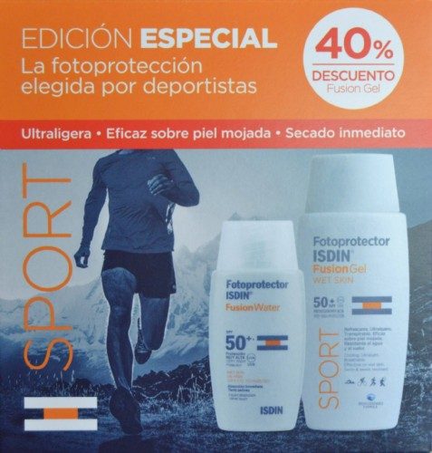 Pack sport fotoprotector isdin fusion spf50+ - gel 100 ml + water  50 ml