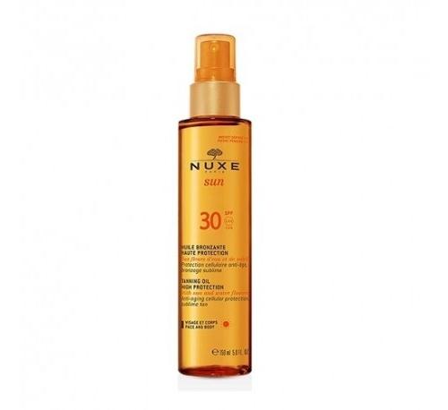 Nuxe sun aceite bronceador para rostro y cuerpo alta proteccion spf 30, 150 ml