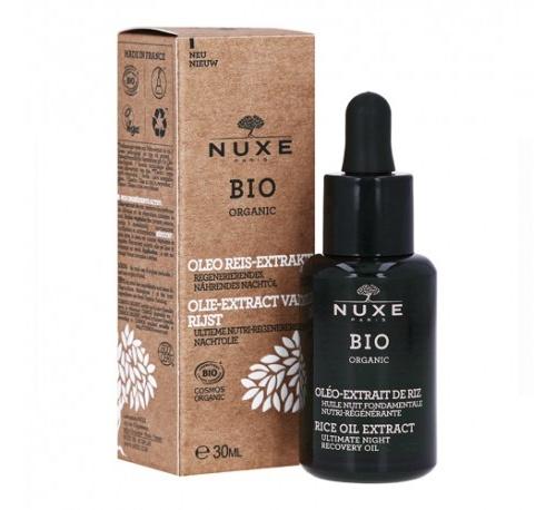 Nuxe bio aceite de noche fundamental nutri-regenerante - extracto oleoso de arroz, 30 ml