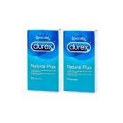 Durex natural plus  (12 preservativos 2 cajas)