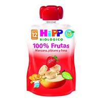 Hipp biologico bolsita manzana, platano y fresa