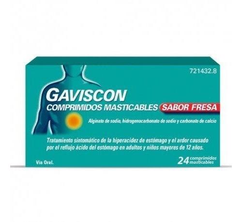 GAVISCON COMPRIMIDOS MASTICABLES SABOR FRESA,24 comprimidos